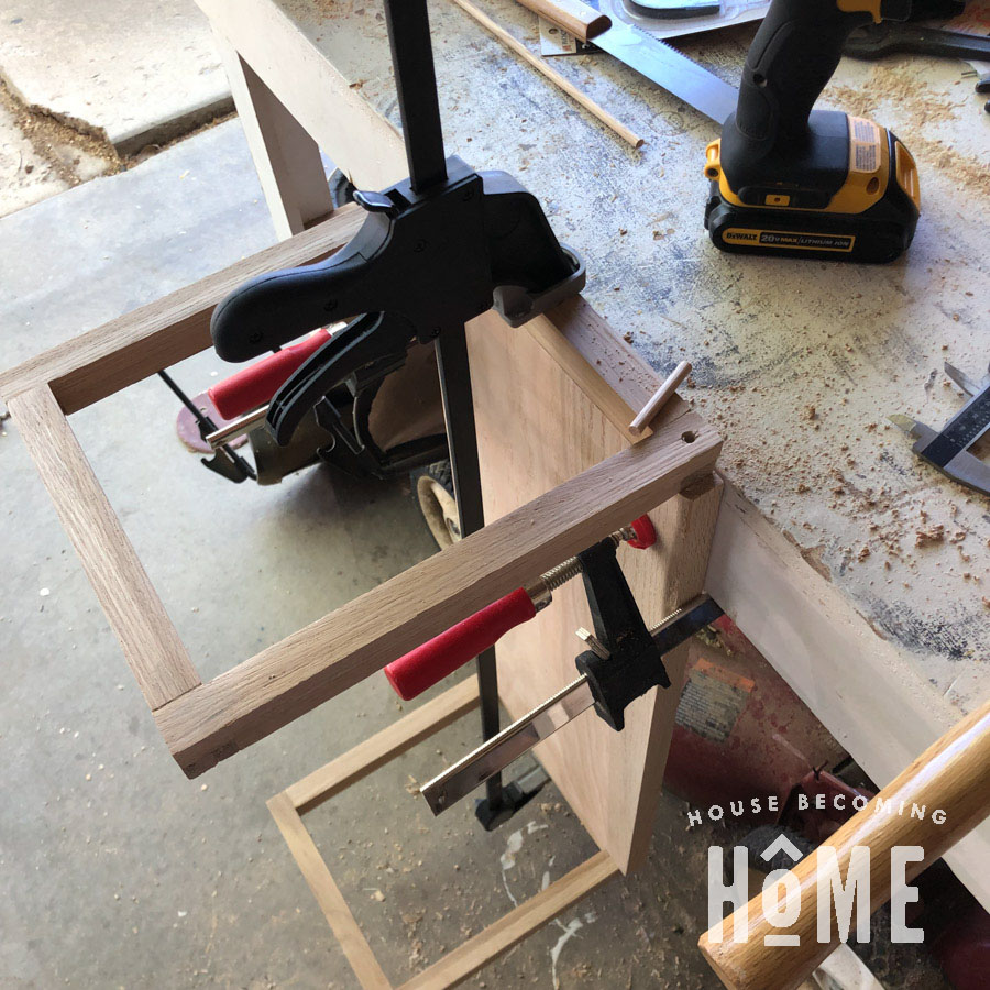 Attaching Bottom Shelf to Floating Nightstand with Dowels Wide View