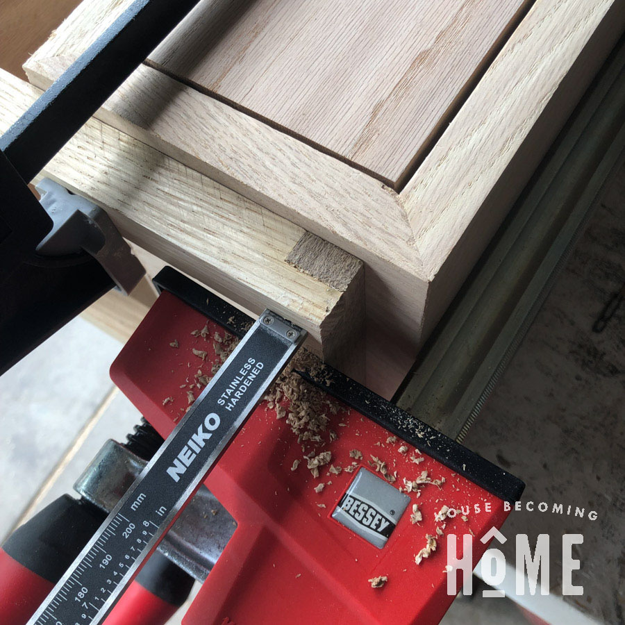 Attaching Legs to the Side of the Floating Nightstand Measure with Calipers