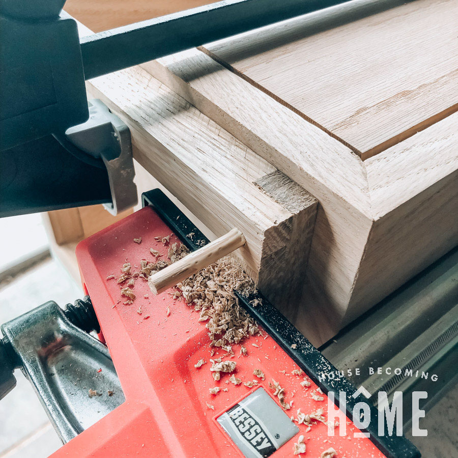 Attaching Legs to the Side of the Floating Nightstand with Dowel