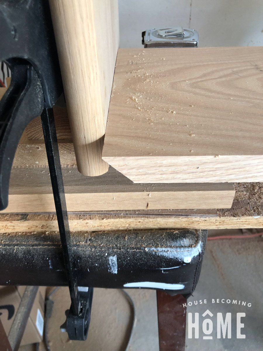 Bevel Cut for Nightstand Top Stopblock for Accuracy