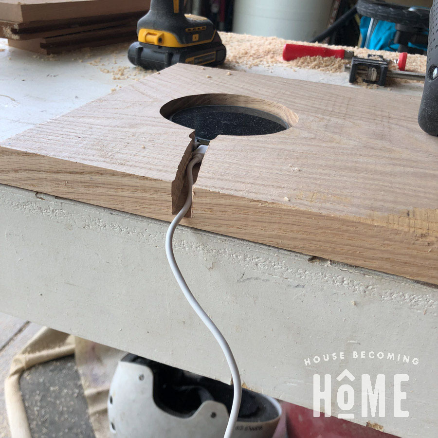 Charging Station Recessed into DIY Nightstand Closeup