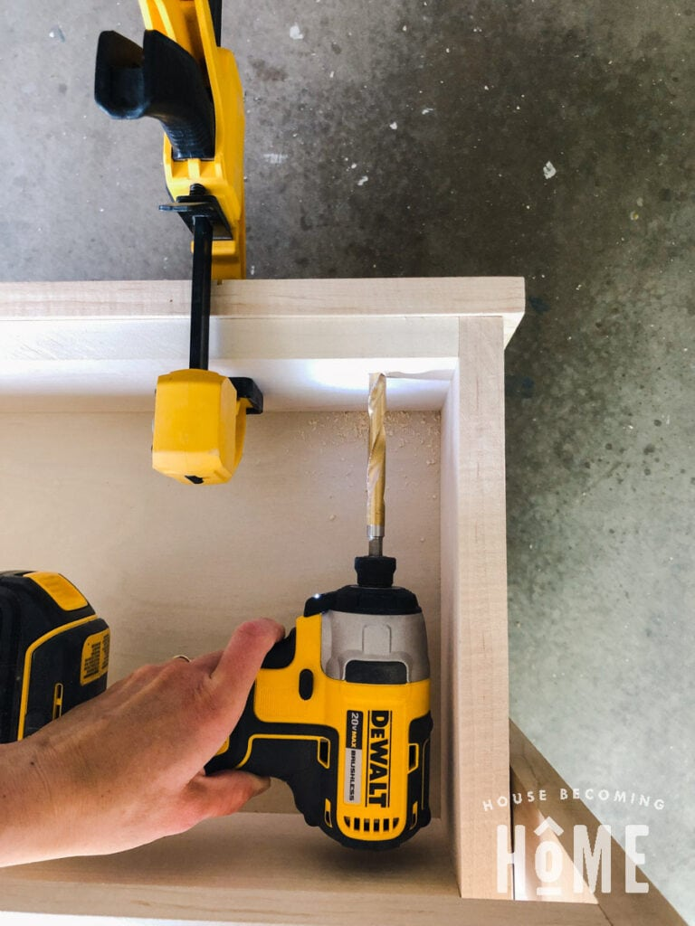 Countersink Holes to Attach Drawer Fronts