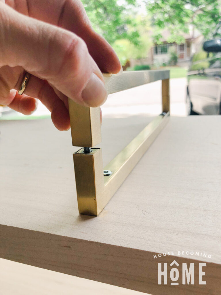 How to Make Brass Legs from Brass Pulls Using Sanded Screw-2