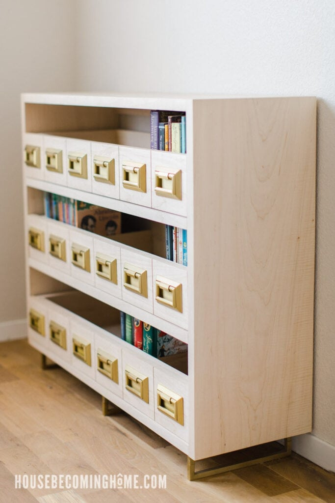 Maple Bookcase with Campaign Bail Pulls