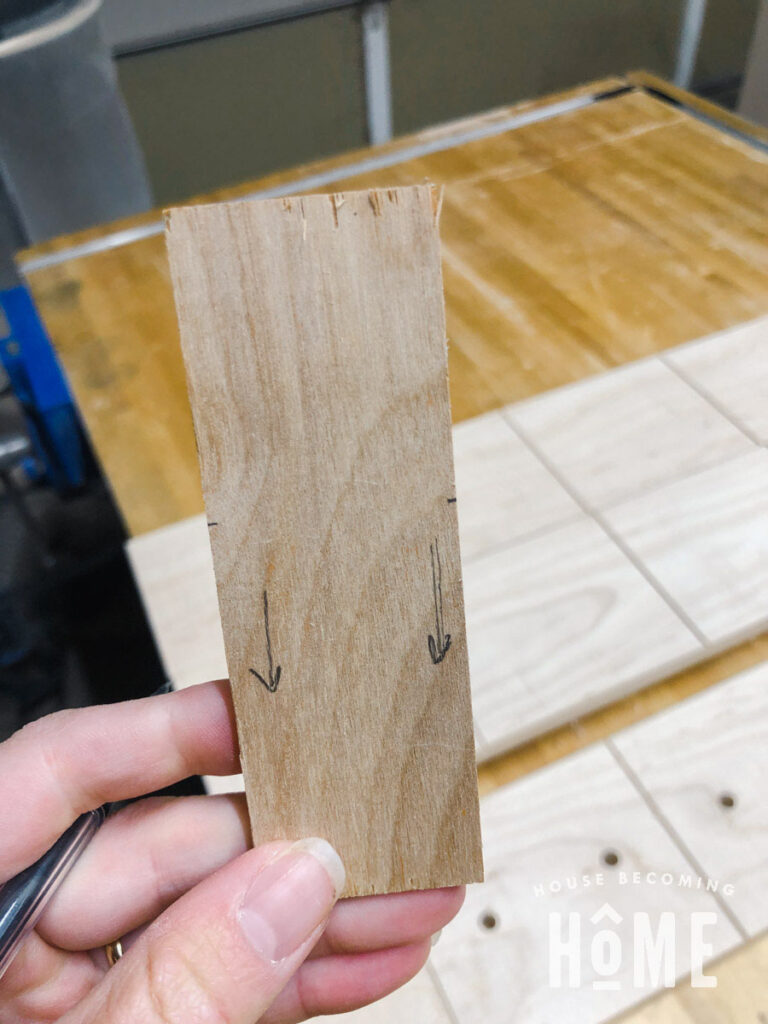Scrap Wood to Mark Placement of Holes for Drawer Hardware