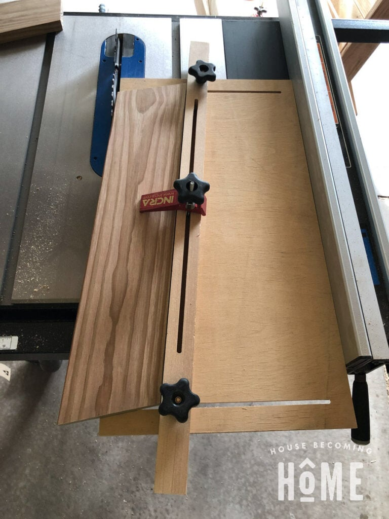 Taper Jig on Table Saw to Make Chair Sides