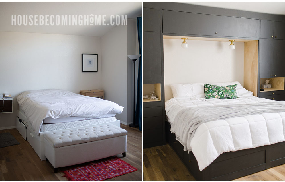 Master Bedroom Before and After Built Ins