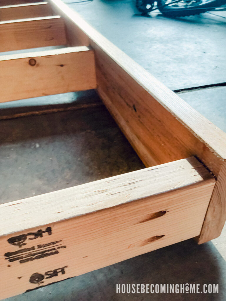 Closeup of DIY Outdoor Couch Seat
